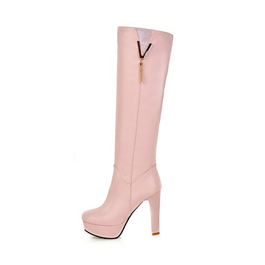 c131ecce0233 Women s PU(Polyurethane) Fall   Winter Boots Stiletto Heel Round Toe Knee  High Boots Tassel White   Black   Pink