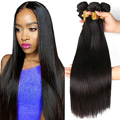 3 paketa Ravan kroj Ljudska kosa Netretirana  ljudske kose Headpiece Ljudske kose plete Styling kose 8-28 inch Prirodna boja Isprepliće ljudske kose Waterfall Jednostavan Vjenčanje Proširenja ljudske