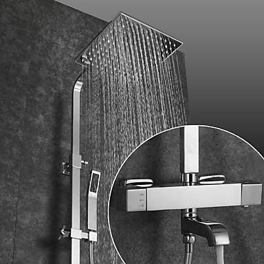 Slavina za tuš / Kupaonica Sudoper pipa - Suvremena Chrome Zidne slavine Keramičke ventila Bath Shower Mixer Taps / Brass / Dvije ručke dvije rupe