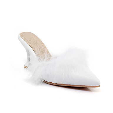 Femme Fourrure de lapin / Polyuréthane Printemps été British / / / Minimalisme Sabot & Mules Kitten Heel Bout pointu Blanc / Noir / Rose | Moderne Et élégant à La Mode  bc5943