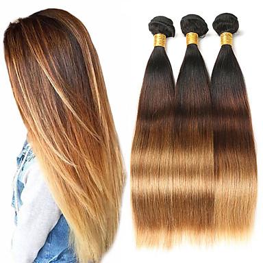 billige Fargede hairextensions-3 pakker Brasiliansk hår Rett 10A Remy Menneskehår Hairextensions med menneskehår 8-26 tommers Hårvever med menneskehår Myk Beste kvalitet Ny ankomst Hairextensions med menneskehår Dame