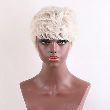 저렴한 가발 & 헤어 연장-인간의 머리카락없는 Capless 가발 인모 자연스런 웨이브 픽시 컷 / 짧은 머리 형 2019 년 / 뱅포함 할리 베리 헤어 스타일 스타일 짧음 기계 제작 가발 여성용