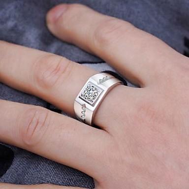 voordelige Herensieraden-Heren Ring Zirkonia 1pc Zilver Koper Strass Kubusvormig Stijlvol Klassiek Bruiloft Verloving Sieraden Klassiek