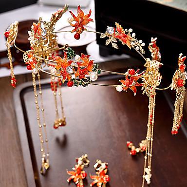 Žene Crvena Kosa Palice Vintage Style Gypsophila Etnikai Naušnice Jewelry Crvena Za Vjenčanje Party 1set