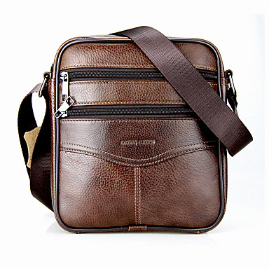 LAOSHIZI Men's Bags Cowhide Crossbody Bag Zipper Black / Coffee