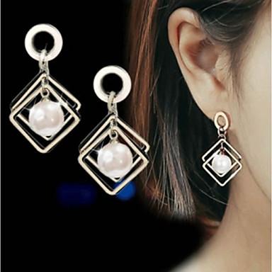 ad53bb64e54c Mujer Blanco Perlas de agua dulce Geométrico Pendientes colgantes Perla  Aretes damas Elegante Geométrico Piedras Joyas Blanco Para Cita Trabajo 1  Par