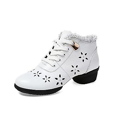 Dam Moderna skor Läder Sneaker / Halvsula Snörning Låg klack Går ej att specialbeställas Dansskor Vit / Svart / Röd