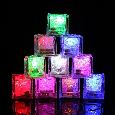 12pcs DIY Colorful Flash LED Ice Cubes Wedding Festival Decor Party Props Luminous LED Glowing Induction Ice CubesChristmas New Year Bar