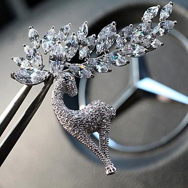 baratos Bijuteria de Mulher-Mulheres Cristal Broches Clássico Elk senhoras Original Strass Prata Chapeada Broche Jóias Prata Para Diário