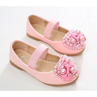 0f52fd47dc9 Chica Zapatos Cuero de Cerdo Primavera verano   Otoño invierno Mocasín   Zapatos  para niña florista Zapatos de taco bajo y Slip-On Pajarita   Perla de ...