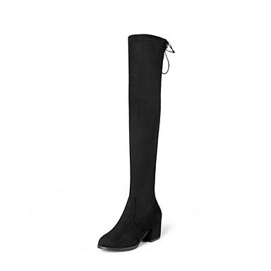Dame Fashion Boots PU Høst vinter Støvler Tykk hæl Lårhøye støvler Svart / Beige