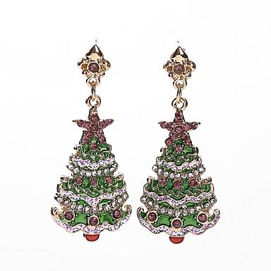 Žene Sitne naušnice 3D Božićno drvce dame Stilski Umjetnički Umjetno drago kamenje Naušnice Jewelry Zelen Za Božić 1 par