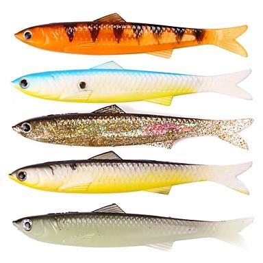 5 pcs Csali Soft Bait Jednostavan za korištenje Floating Bass Pastrva Štuka Morski ribolov Pecanje na mušicu Mamac Casting Dovesti plastika / Ice ribolov / Vrtložno / Jigging Ribolov / Šaran ribolov