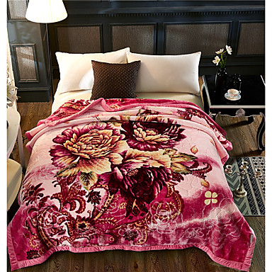 Bed Blankets, Floral / Botanical Plush Fabric Thicken Blankets