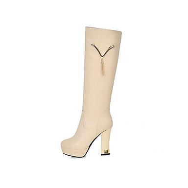 7ff3a17d5aaf Women s PU(Polyurethane) Fall   Winter Boots Chunky Heel Round Toe Knee  High Boots Tassel White   Black   Beige