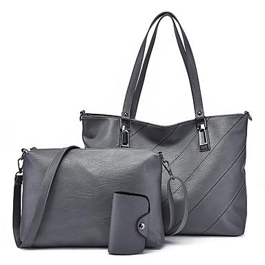0cb45cc02e Γυναικεία Τσάντες PU Σετ τσάντα 3 σετ Σετ τσαντών Φερμουάρ Συμπαγές Χρώμα  Καφέ   Σκούρο γκρι   Κρασί