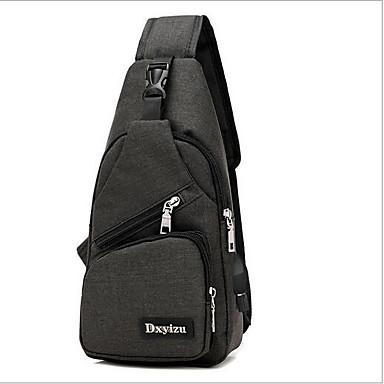 cheap Bags-Men's Zipper Sling Shoulder Bag Nylon Black / Gray / Purple