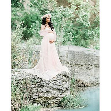 tanie Odzież ciążowa-Damskie Elegancja Pochwa Sukienka - Solidne kolory Maxi