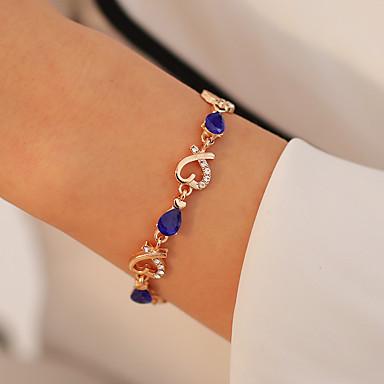 abordables Bracelet-Bracelet en cristal Femme Cristal Strass Cœur Coeur creux Doux Mode Bracelet Bijoux Rouge Vert Bleu pour Rendez-vous Anniversaire
