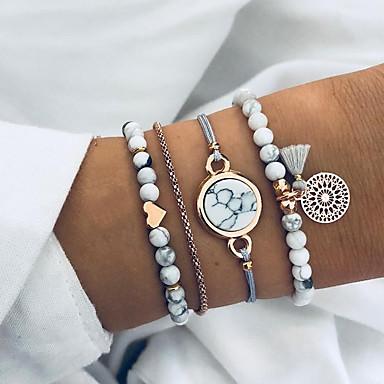 voordelige Dames Sieraden-4pcs Dames Kralenarmband Hart Punk Modieus Steen Armband sieraden Wit Voor Verjaardag Straat
