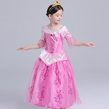 Aurora Cosplay Nošnje Dječji Djevojčice Haljine Mesh Božić Halloween Karneval Festival / Praznik Svila Organza Fuschia Karneval kostime Čipka