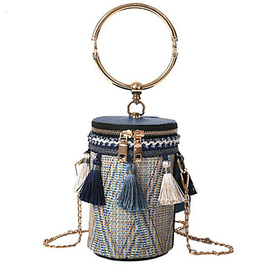cheap Going to the beach-Women's Zipper / Tassel Shoulder Messenger Bag Straw Blue / Black / Khaki