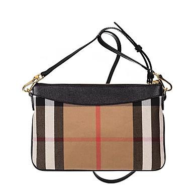 c42fcadf35 Burberry Style Women s Bags Canvas Shoulder Bag Lattice Black   Brown