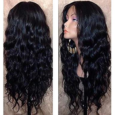Ljudska kosa Lace Front Perika Srednji dio stil Brazilska kosa Wavy Crna Perika 130% Gustoća kose s dječjom kosom Prirodna linija za kosu Za crnkinje 100% Djevica 100% rađeno rukom Žene Dug Perike s
