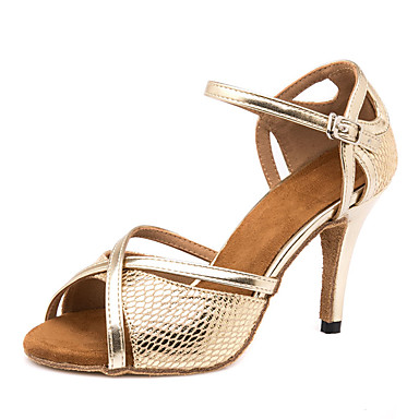 ad50fdfd0509 Women s Latin Shoes PU(Polyurethane) Sandal   Sneaker Splicing Slim High  Heel Customizable Dance Shoes Gold