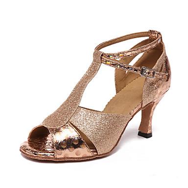 Žene Plesne cipele Sintetika Cipele za latino plesove Štikle Kubanska potpetica Moguće personalizirati Zlato / Seksi blagdanski kostimi / Koža / Vježbanje