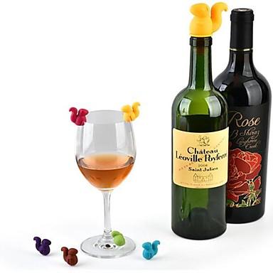 povoljno Dom i vrt-7pcs vjeverica boca vina čep silikonska napitak stakla šalice markeri oznaka