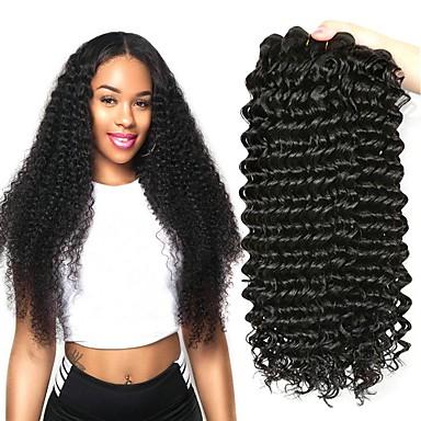 4 paketića Brazilska kosa Duboko Val Virgin kosa Netretirana  ljudske kose Ljudske kose plete Bundle kose Jedan Pack Solution 8-28 inch Prirodna boja Isprepliće ljudske kose Rasprodaja 100% Djevica