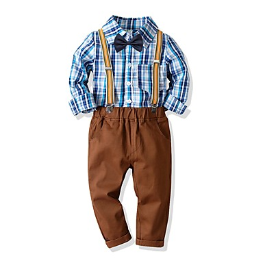 d208e2525aee3 hesapli Erkek Çocuk Kıyafetleri-Çocuklar Genç Erkek Temel Desen Uzun Kollu  Pamuklu Kıyafet Seti Havuz