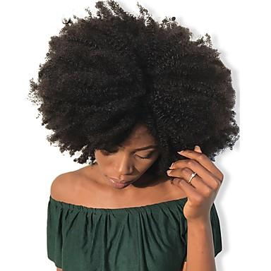 お買い得  人毛エクステンション-Dolago Clip In 人間の髪の拡張機能 カール 人毛 人毛エクステンション ブラジリアンヘア ナチュラル 7個 無臭 ナチュラル 100% バージン フリーサイズ ブラック