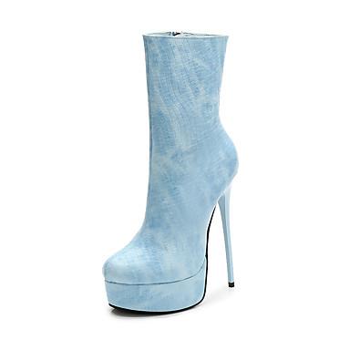 povoljno Ženske cipele-Žene PU Jesen zima Ležerne prilike Cipele na petu Stiletto potpetica Čizme do pola lista Plava / Pink / Badem