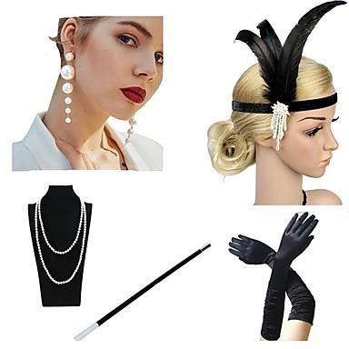 The Great Gatsby Čarlston 1920s Gatsby Traka za kosu u stilu 20-ih Žene Rese Kostim Šeširi Igazgyöngy nyaklánc Crn / Zlatan / Balck + bijeli Vintage Cosplay / Rukavice / Ogrlice / Naušnice / Rukavice