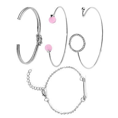 baratos Bijuteria de Mulher-Mulheres Bracelete Clássico De amarrar Estiloso Liga Pulseira de jóias Dourado / Prata Para Diário