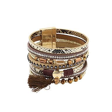 abordables Parure Bracelet-100 pcs Bracelets en cuir Parure Bracelet Femme Fantaisie Cuir Mode British Bracelet Bijoux Noir Gris Marron pour Cadeau Quotidien