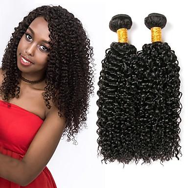 voordelige Weaves van echt haar-3 bundels Maleisisch haar Kinky Curly Echt haar Wig Accessories Menselijk haar weeft Verlenging 8-28 inch(es) Natuurlijke Kleur Menselijk haar weeft Zacht Zijdeachtig Naturel Extensions van echt haar