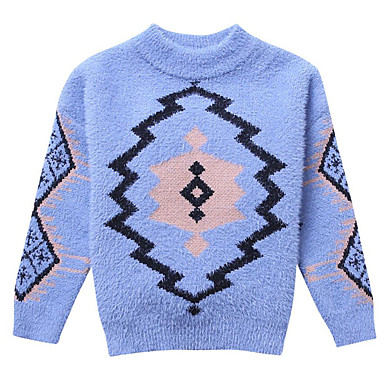 Kids Girls  Basic   Street chic Daily Geometric   Print Print Long Sleeve  Rayon Sweater   Cardigan Blue a37c3c933