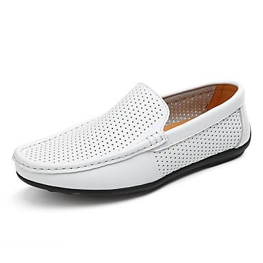 בגדי ריקוד גברים מוקסין עור סתיו / אביב קיץ יום יומי / בריטי נעליים ללא שרוכים הליכה נושם לבן / שחור / צהוב