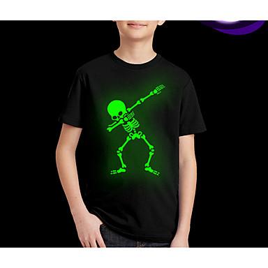 povoljno Novo u ponudi-Djeca Dječaci Ulični šik Print Kratkih rukava Regularna Majica s kratkim rukavima Crn