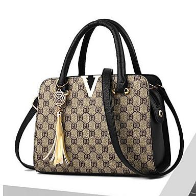 cheap Top Handles & Tote Bags-Women's Bags PU(Polyurethane) Tote Pattern / Print Purple / Light Purple / Black Grey