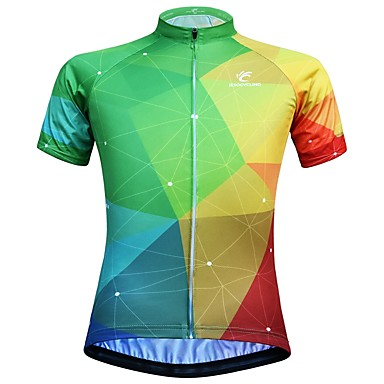 JESOCYCLING Women s Short Sleeve Cycling Jersey - Green   Yellow Gradient Bike  Jersey Top Quick Dry 0a102bd38