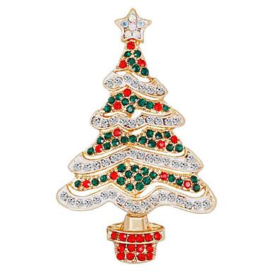 baratos Bijuteria de Mulher-Mulheres Zircônia Cubica Broches Clássico Árvore de Natal senhoras Fashion Broche Jóias Verde / Vermelho Para Natal Diário