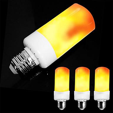 abordables Ampoules Globe LED-zdm 4pcs e26 e27 / e14 5w led effet de flamme ampoule-4 modes avec effet à l'envers ac85-265v