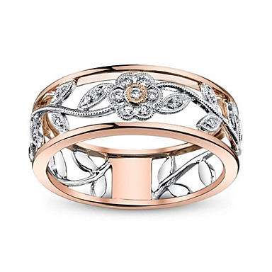 afa457ff4 Women's White Cubic Zirconia Classic Band Ring spinning ring Rose Gold  Plated Luxury Unique Design Ring Jewelry Rose Gold For Party Gift Date 6 /  7 / 8 / 9 ...