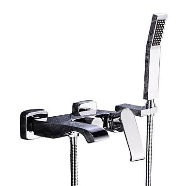 Torneira de Banheira - Moderna Cromado Montagem de Parede Válvula Cerâmica Bath Shower Mixer Taps / Duas alças de três furos