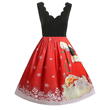 Christmas Dress.Dress Christmas Dress Santa Clothes Adults Women S Dresses Christmas Christmas New Year Festival Holiday Elastane Red Carnival Costumes Vintage