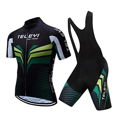 TELEYI Men s Short Sleeve Cycling Jersey with Bib Shorts - White   Black  Bike Clothing Suit 3186cfbe1